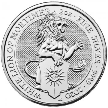2020 2 oz Great Britain Silver Queen's Beasts Coin - The White Lion - Gem BU