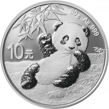 2020 30 gram Chinese Silver Panda Coin reverse