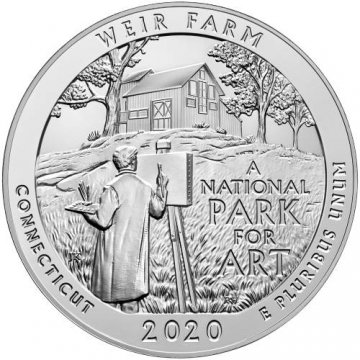 2020 5 oz ATB National Park of Weir Farm Silver Coin Reverse