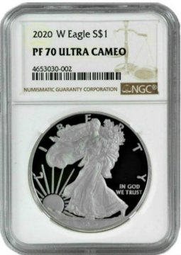 2020-W 1 oz Proof American Silver Eagle Coin - NGC PF-70 Ultra Cameo