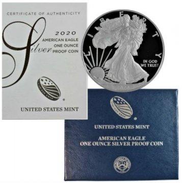 2020-W 1 oz Proof American Silver Eagle Coin - Gem Proof (w/ Box & COA)