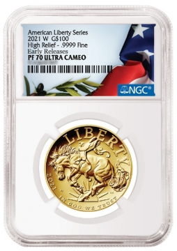 2021-W American Liberty High Relief Gold Coin - NGC PF-70 Early Release - American Liberty Flag Label