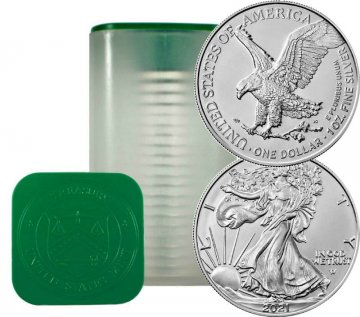 2021 20-Coin 1 oz American Silver Eagle Roll - Type 2 - Never Opened