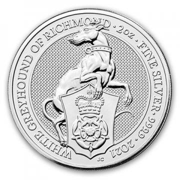 2021 2 oz Great Britain Silver Queen's Beasts Coin - The White Greyhound - Gem BU