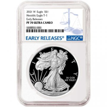 2021-W 1 oz Proof American Silver Eagle Coin - Type I - NGC PF-70 Ultra Cameo Early Releases