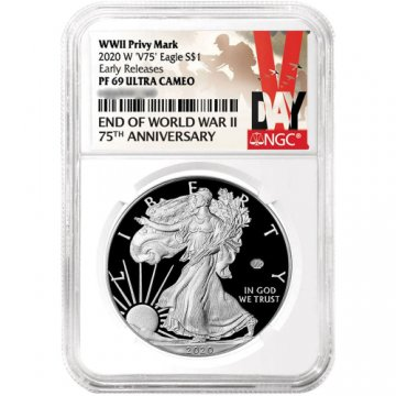 2020-W Proof American Silver Eagle - WWII V75 Privy - NGC PF-69 Early Release V Day Label