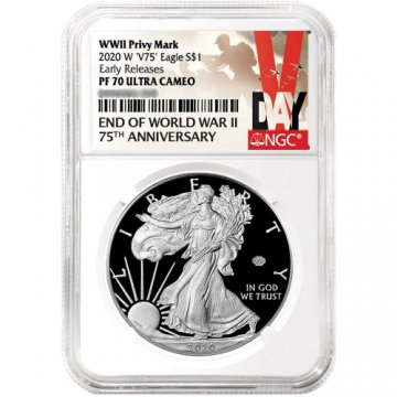 2020-W Proof American Silver Eagle - WWII V75 Privy - NGC PF-70 V Day Label