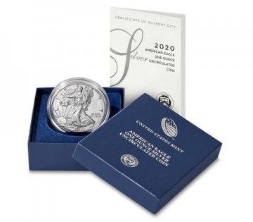 2020-W 1 oz Burnished American Silver Eagle Coin - Gem BU (w/ Box & COA)