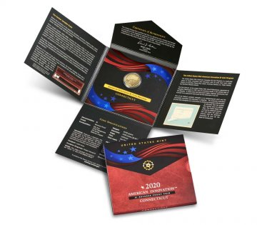 2020-S American Innovation Reverse Proof Dollar Coin Set - Connecticut