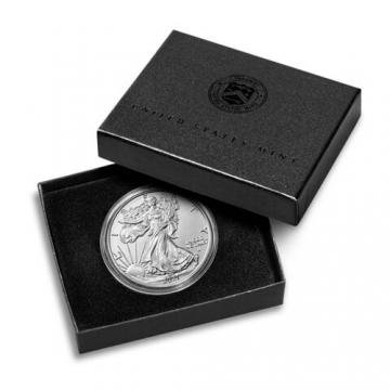 2021-W 1 oz Burnished American Silver Eagle Coin - Type 2 - Gem BU (w/ Box & COA)