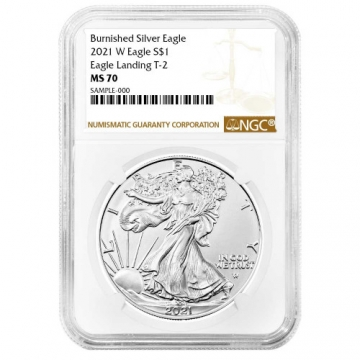 2021-W 1 oz Burnished American Silver Eagle Coin - Type 2 - NGC MS-70 Brown Label