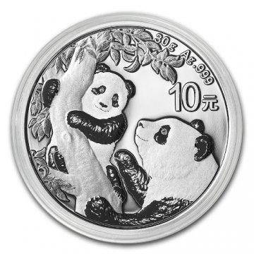 2021 30 gram Chinese Silver Panda Coin - Gem BU