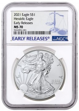 2021 1 oz American Silver Eagle Coin - NGC MS-70 Early Release