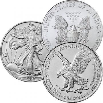 2021 American Silver Eagle - 2 Coin Bundle - Type 1 & Type 2 - Gem BU