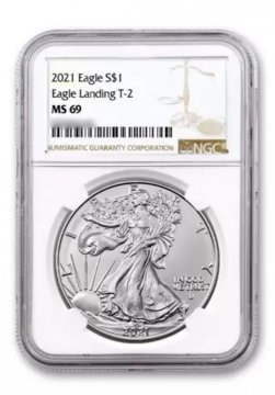 2021 1 oz American Silver Eagle Coin - Type 2 - NGC MS-69 Brown Label