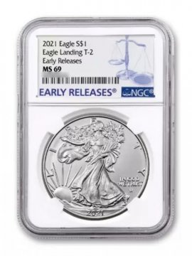 2021 1 oz American Silver Eagle Coin - Type 2 - NGC MS-69 Early Release