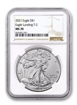 2021 1 oz American Silver Eagle Coin - Type 2 - NGC MS-70 Brown Label