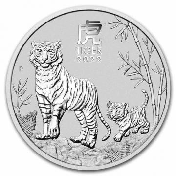 2022 Australia 1 oz Silver Lunar Tiger - Gem BU
