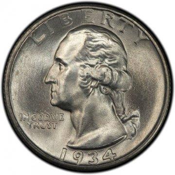 1934 Washington Silver Quarter Coin - Heavy Motto - Choice BU