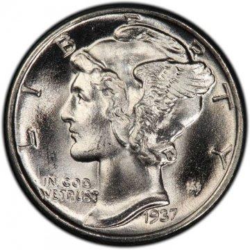 1937 Mercury Silver Dime Coin - Choice BU