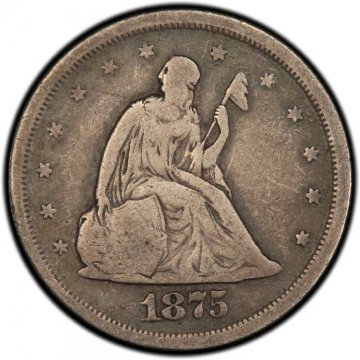 1875-S Twenty Cent Piece Silver Coin - Fine