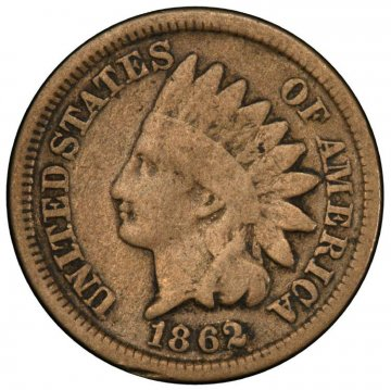1862 or 1863 Copper Nickel Indian Head Cent Coin From The Civil War - Good to Very Good