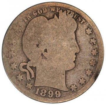 1892-1916 40-Coin 90% Silver Barber Quarter Roll - Avg. Circ.
