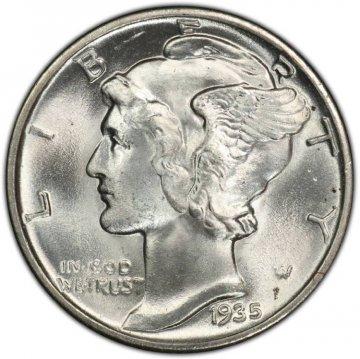 1935 Mercury Silver Dime Coin - Choice BU