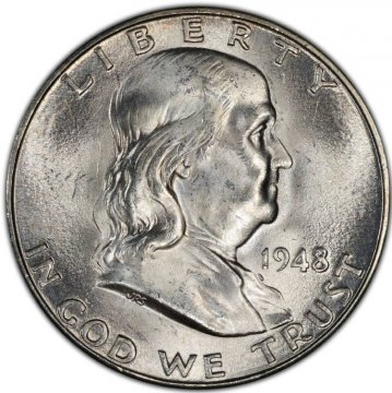 1948-D Franklin Silver Half Dollar Coin - Choice BU