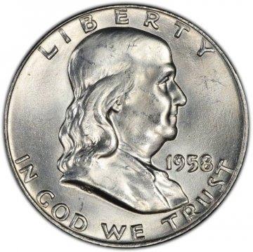 1958-D Franklin Silver Half Dollar Coin - Choice BU