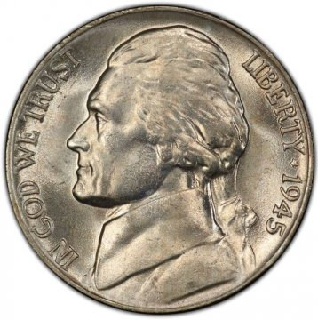 1945-P Jefferson War Nickel Silver Coin - Choice Uncirculated