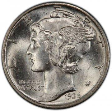 1936-S Mercury Silver Dime Coin - Choice BU