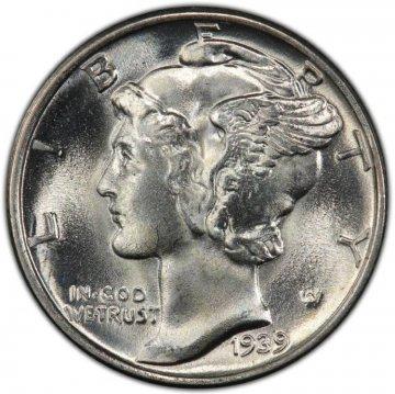 1939 Mercury Silver Dime Coin - Choice BU