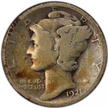 1921 Mercury Silver Dime Coin - Good