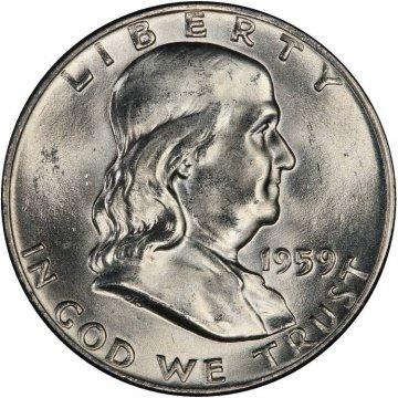 1959-D Franklin Silver Half Dollar Coin - Choice BU