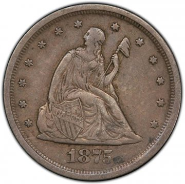 1875-S Twenty Cent Piece Silver Coin - Very Fine / Extremely Fine
