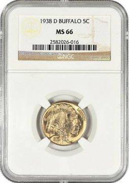 1938-D Buffalo Nickel Coin - NGC/PCGS Certified MS-66