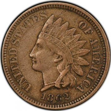 1862 or 1863 Copper Nickel Indian Head Cent Coin From The Civil War - Very Fine