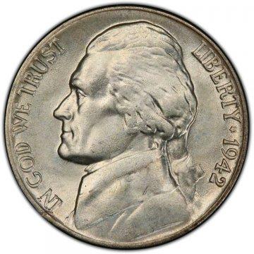 1942-P Jefferson War Nickel Silver Coin - Choice Uncirculated