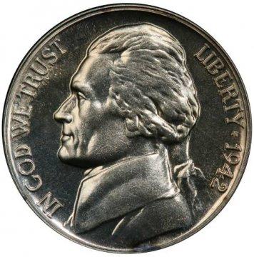 1942-P Proof Jefferson War Nickel Silver Coin - Gem Proof