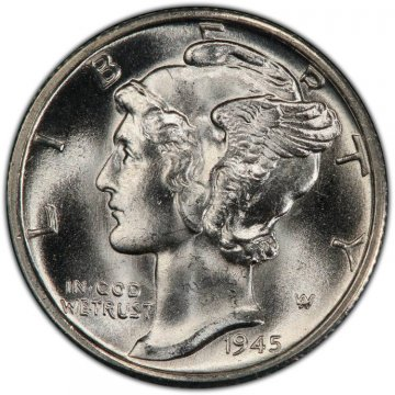1945-S Mercury Silver Dime Coin - Choice BU