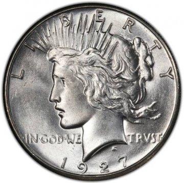 1927 Peace Silver Dollar Coin - Brilliant Uncirculated (BU)