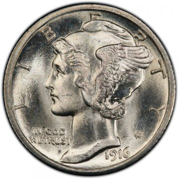 1916 Mercury Silver Dime Coin - Choice BU