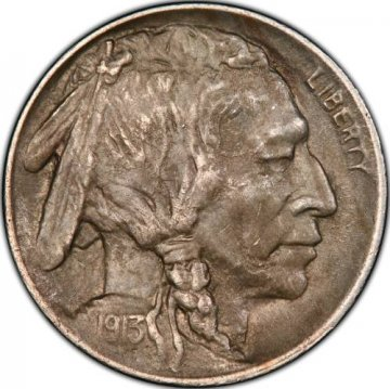 1913 Buffalo Nickel Coin - Type 1 - About Uncirculated