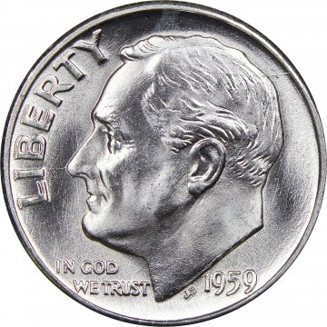 1959 Roosevelt Silver Dime Coin - Choice BU