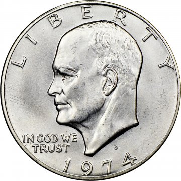 1974-S Eisenhower 40% Silver Dollar Coin - BU