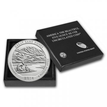 2014-P 5 oz Burnished Great Sand Dunes ATB Silver Coin (w/ Box & COA)