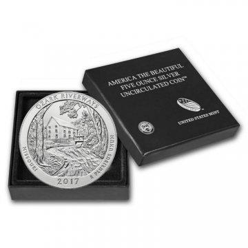 2017-P 5 oz Burnished Ozark Riverways ATB Silver Coin (w/ Box & COA)