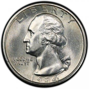 1934 Washington Silver Quarter Coin - Medium Motto - Choice BU