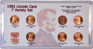 1982 7-Coin Variety Set of Lincoln Cent Coins - BU